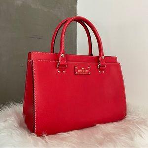 Red Kate Spade Wellesley Durham leather satchel